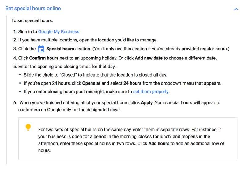 Google Special Hours Setup