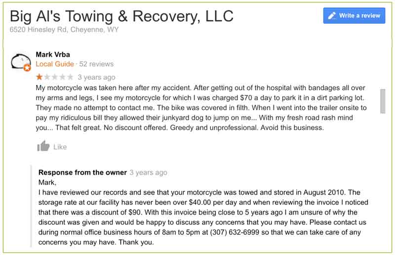 towing company reviews Big Als