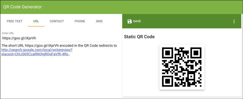 QR Code Generator Shortened URL