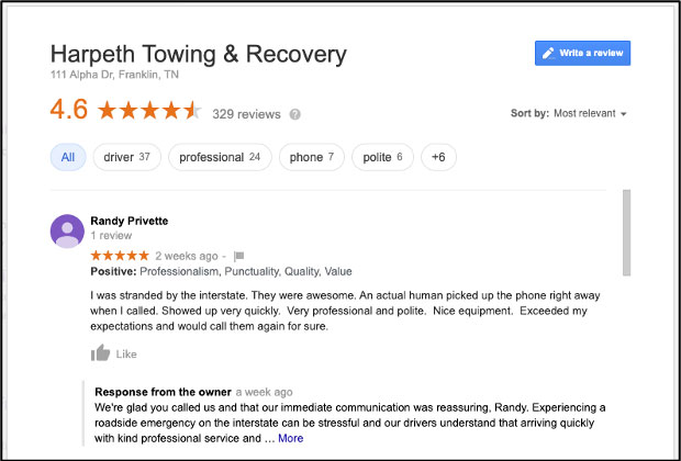 Google Review with Positive Attributes